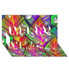 Bubbles Colorful Leaves Merry Xmas 3d Greeting Card (8x4) by AnjaniArt