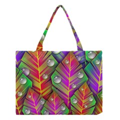 Bubbles Colorful Leaves Medium Tote Bag by AnjaniArt