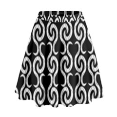 Black And White Pattern High Waist Skirt by Valentinaart