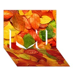 Colorful Fall Leaves I Love You 3d Greeting Card (7x5) by AnjaniArt