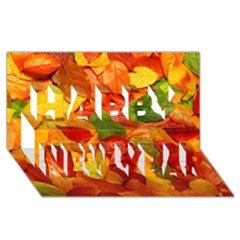 Colorful Fall Leaves Happy New Year 3d Greeting Card (8x4) by AnjaniArt