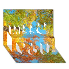 Colorful Leaves Sky Miss You 3d Greeting Card (7x5) by AnjaniArt