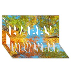 Colorful Leaves Sky Happy New Year 3d Greeting Card (8x4) by AnjaniArt