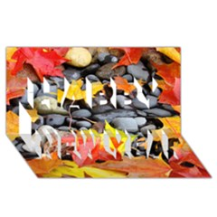 Colorful Leaves Stones Happy New Year 3d Greeting Card (8x4) by AnjaniArt