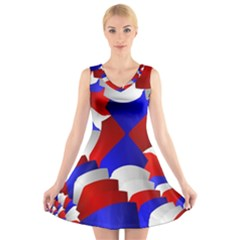 Happy Memorial Day V Neck Sleeveless Skater Dress by AnjaniArt