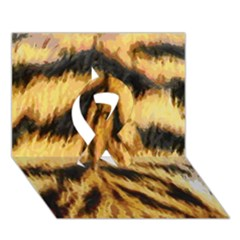 Tiger Fur Painting Ribbon 3d Greeting Card (7x5) by AnjaniArt