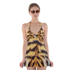 Tiger Fur Painting Halter Swimsuit Dress by AnjaniArt