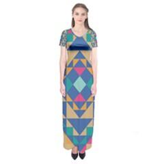 Tiling Pattern Short Sleeve Maxi Dress by AnjaniArt
