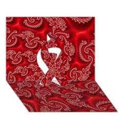 Fractal Art Elegant Red Ribbon 3D Greeting Card (7x5)