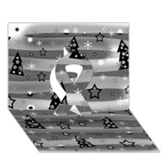 Gray Xmas Magic Ribbon 3d Greeting Card (7x5) by Valentinaart