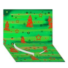 Green Xmas Magic Heart Bottom 3d Greeting Card (7x5) by Valentinaart