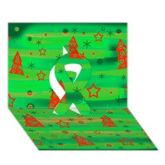 Green Xmas Magic Ribbon 3d Greeting Card (7x5) by Valentinaart