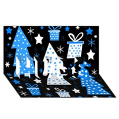 Blue playful Xmas HUGS 3D Greeting Card (8x4) by Valentinaart