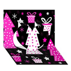 Pink Playful Xmas Heart 3d Greeting Card (7x5) by Valentinaart