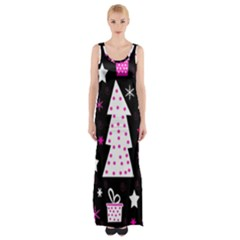 Pink Playful Xmas Maxi Thigh Split Dress by Valentinaart