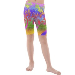 Tree Colorful Mystical Autumn Kids  Mid Length Swim Shorts by Zeze