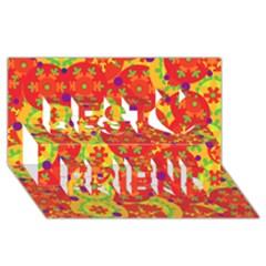 Orange Design Best Friends 3d Greeting Card (8x4) by Valentinaart