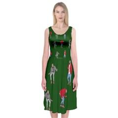 Drake Ugly Holiday Christmas 2 Midi Sleeveless Dress by Onesevenart