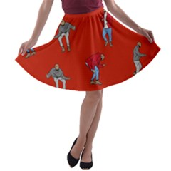 Drake Ugly Holiday Christmas   A Line Skater Skirt by Onesevenart