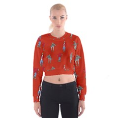 Drake Ugly Holiday Christmas   Women s Cropped Sweatshirt by Onesevenart