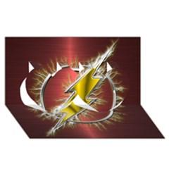Flash Flashy Logo Twin Hearts 3d Greeting Card (8x4) by Onesevenart