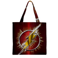 Flash Flashy Logo Zipper Grocery Tote Bag by Onesevenart