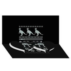Holiday Party Attire Ugly Christmas Black Background Twin Heart Bottom 3d Greeting Card (8x4) by Onesevenart