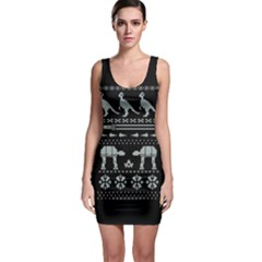 Holiday Party Attire Ugly Christmas Black Background Sleeveless Bodycon Dress by Onesevenart