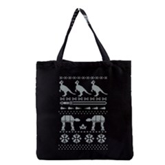 Holiday Party Attire Ugly Christmas Black Background Grocery Tote Bag by Onesevenart