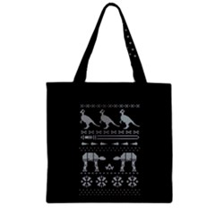 Holiday Party Attire Ugly Christmas Black Background Zipper Grocery Tote Bag by Onesevenart