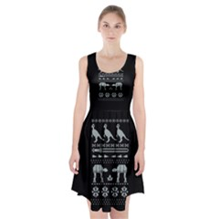 Holiday Party Attire Ugly Christmas Black Background Racerback Midi Dress by Onesevenart