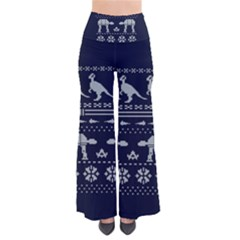 Holiday Party Attire Ugly Christmas Blue Background Pants by Onesevenart