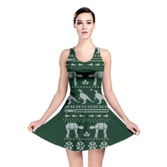 Holiday Party Attire Ugly Christmas Green Background Reversible Skater Dress