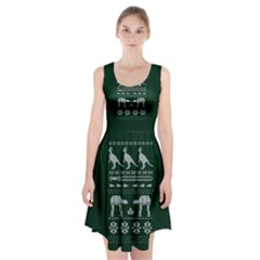 Holiday Party Attire Ugly Christmas Green Background Racerback Midi Dress by Onesevenart