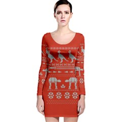 Holiday Party Attire Ugly Christmas Red Background Long Sleeve Velvet Bodycon Dress by Onesevenart