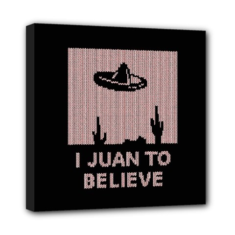 I Juan To Believe Ugly Holiday Christmas Black Background Mini Canvas 8  X 8  by Onesevenart