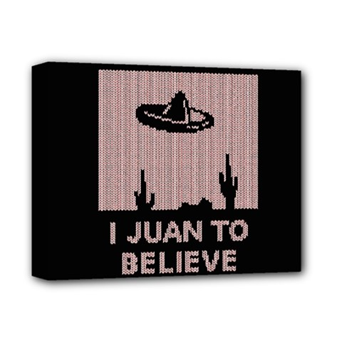 I Juan To Believe Ugly Holiday Christmas Black Background Deluxe Canvas 14  X 11  by Onesevenart