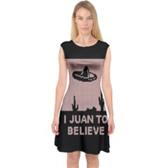 I Juan To Believe Ugly Holiday Christmas Black Background Capsleeve Midi Dress