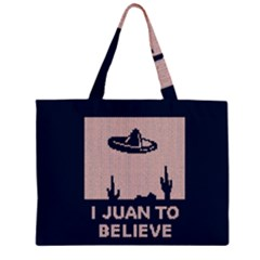 I Juan To Believe Ugly Holiday Christmas Blue Background Large Tote Bag by Onesevenart