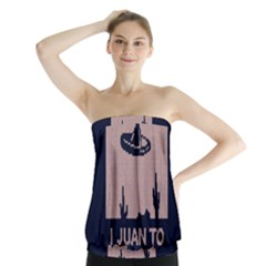 I Juan To Believe Ugly Holiday Christmas Blue Background Strapless Top by Onesevenart