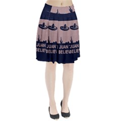 I Juan To Believe Ugly Holiday Christmas Blue Background Pleated Skirt by Onesevenart