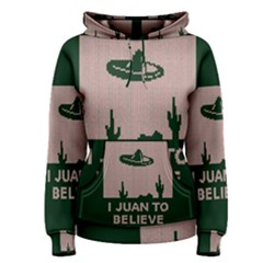 I Juan To Believe Ugly Holiday Christmas Green background Women s Pullover Hoodie by Onesevenart