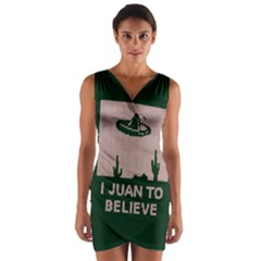 I Juan To Believe Ugly Holiday Christmas Green Background Wrap Front Bodycon Dress by Onesevenart