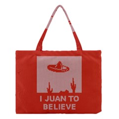 I Juan To Believe Ugly Holiday Christmas Red Background Medium Tote Bag by Onesevenart