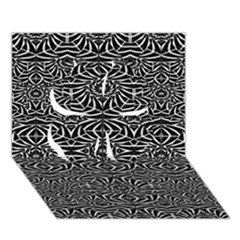 Black And White Tribal Pattern Clover 3d Greeting Card (7x5) by dflcprints