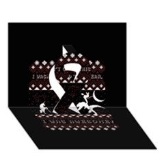 I Wasn t Good This Year, I Was Awesome! Ugly Holiday Christmas Black Background Ribbon 3d Greeting Card (7x5) by Onesevenart