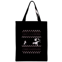 I Wasn t Good This Year, I Was Awesome! Ugly Holiday Christmas Black Background Zipper Classic Tote Bag by Onesevenart