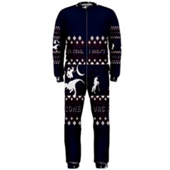 I Wasn t Good This Year, I Was Awesome! Ugly Holiday Christmas Blue Background Onepiece Jumpsuit (men)  by Onesevenart