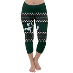I Wasn t Good This Year, I Was Awesome! Ugly Holiday Christmas Green Background Capri Winter Leggings  by Onesevenart