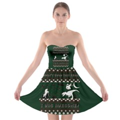 I Wasn t Good This Year, I Was Awesome! Ugly Holiday Christmas Green Background Strapless Bra Top Dress by Onesevenart